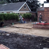 Shows area with edges set to new levels and also concreate  base for new conservatory.