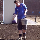 Finnish job. Shows joel sowing and raking small areas by hand